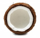 Cut Coconut Isolated On White