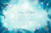 Blue Christmas background with tree branches and snowflakes. Vector.