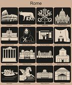Landmarks of Rome. Set of monochrome icons. Editable vector illustration.