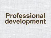 Education concept: Professional Development on fabric texture background