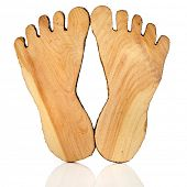 Two pair wooden paw foot lying  isolated on white background