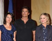 LOS ANGELES - OCT 16:  Aubrey Plaza, Rob Lowe, Amy Poehler at the