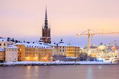 Cityscape of Gamla Stan Old Town Stockholm city at dusk Sweden