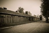 Wooden barracks for guard in former Nazi concentration camp Auschwitz I, Poland