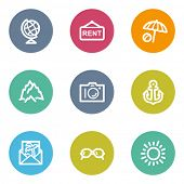 Travel web icons set 5, color circle buttons