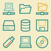 Drive storage web icons, retro colors