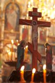 pic of unity candle  - Church altar humility before the crucifixion Jesus - JPG