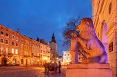 Lviv city night landscape. Ukraine