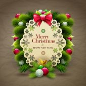Christmas invitation message card with ornaments. Vector design template.