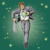 Generic businessman superhero figure changing.  Layered & easy to edit. See portfolio for simular im