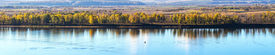 picture of kama  - panorama of the autumn river Kama Russia - JPG