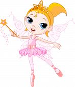 foto of princess crown  - Little Cute fairy ballerina with magic wand - JPG
