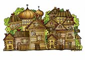 cartoon vector Russian old wooden village