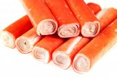 Crab Sticks on white background