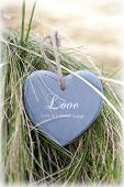 Single Lonely Wooden Heart On Beach Dunes