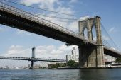 Brooklyn And Manhattan Bridges From South