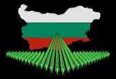 Arrow of people with Bulgaria map flag illustration