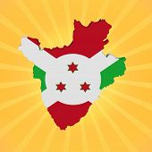 Burundi map flag on sunburst illustration