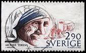 SWEDEN - CIRCA 1979: stamp printed in Sweden dedicated to Nobel Peace winner Mother Theresa, circa 1