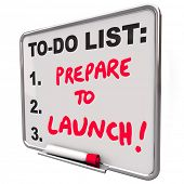 Prepare to Launch Words To Do List Board Ready Start Business