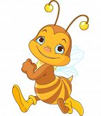 Illustration of running cute bee