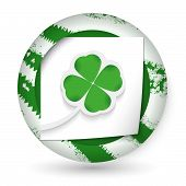 Green Abstract Icon With Paper And Cloverleaf