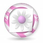 Violet Abstract Icon With Paper And Flower