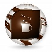Brown Abstract Icon With Paper And Cup Of Coffee