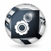 Vector Abstract Icon With Paper And Cogwheels