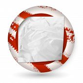 Red Vector Abstract Icon With Blank Crumpled Paper