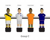 Table football, soccer players. Group C - Colombia, Greece, Ivory Coast, Japan