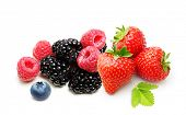 Raspberry, Strawberry, Blueberry, Blackberry  Isolated on White Background