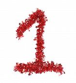 Red christmas tinsel with stars as number 1.