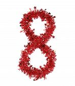 Red christmas tinsel with stars as number 8.
