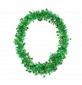 Green tinsel with stars in form of letter O.