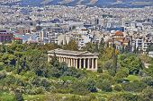 Hephaestus temple and Athens cityscape
