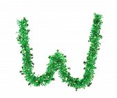 Green tinsel with stars in form of letter W.
