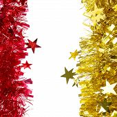 Christmas red and yellow tinsel.