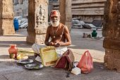 MADURAI, INDIA - FEBRUARY 16, 2013: Indian brahmin (traditional Hindu society) priest in famous Meen