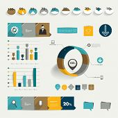 Set of flat infographic elements. Diagrams, speech bubbles, graphs, pie charts and icons. Vector sha