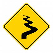 picture of veer  - Winding Road Ahead isolate on white background - JPG