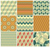 Vintage Geometric Background Pattern Set