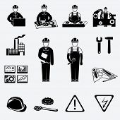 stock photo of assemblage  - Engineering construction and industrial icons set of project work symbols vector illustration - JPG