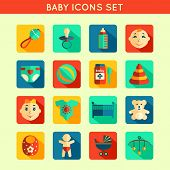 stock photo of boy girl shadow  - Decorative baby child icons set with bottle rattle toy ball boy and girl vector illustration - JPG