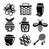 Honey Icon Set Black & White