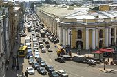 ST.PETERSBURG, RUSSIA - JUN 27, 2013: Cars stands in traffic jam on the city center. Shortness of tr