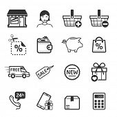 Shopping icons set 03 // BW