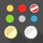 Different bottle caps set. flat design