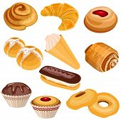 Set of pastry isolated on white background