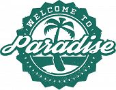 Welcome to Paradise Tropical Vacation Stamp